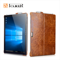 ICARER Vintage Series Genuine Leather Back Cover Tablet Case with Stand for Microsoft Surface Pro 4