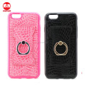 Manufacturer Wholesale Factory Price PU Leather Skin 360 Degree Soft TPU Metal Stand Ring Cover Case for Iphone 6 6S Plus 5 SE