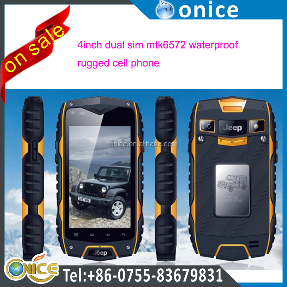 Ip68 smart phone jeep Z6 4 inch IPS screen android 4.2 mtk6572 waterproof Rugged dual sim 3g mobile phone
