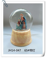 Wholesale Christmas religious souvenir gifts 65mm glass ball with religious statues Jesus christ and mary