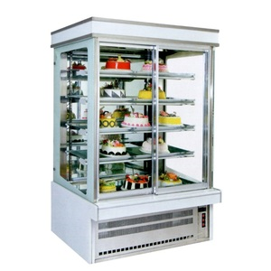 High quality vertical glass display shop cake refrigerated display
