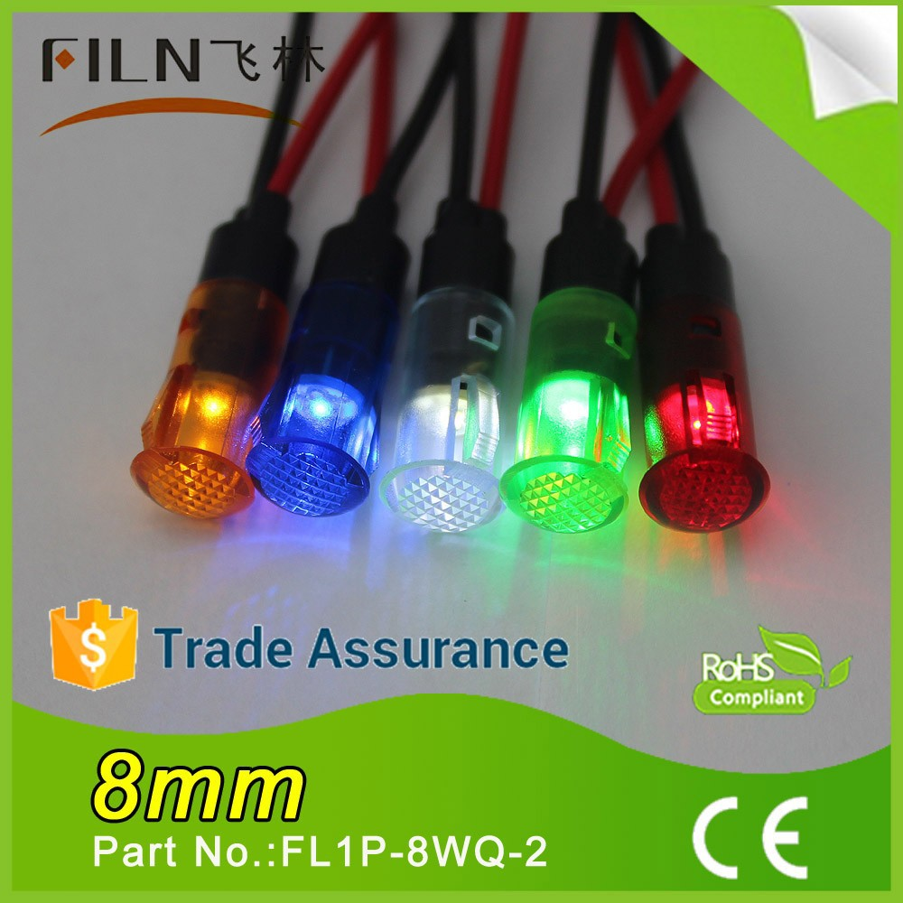 8mm plastic energy conservation red green ROHS approved silver liquid mercuri with 20cm wire