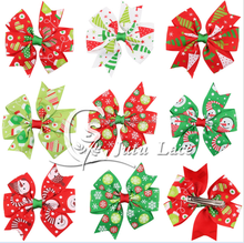 Christmas hairpin children Christmas ornaments Halloweenish colorful ribbon barrette wholesale 8 color