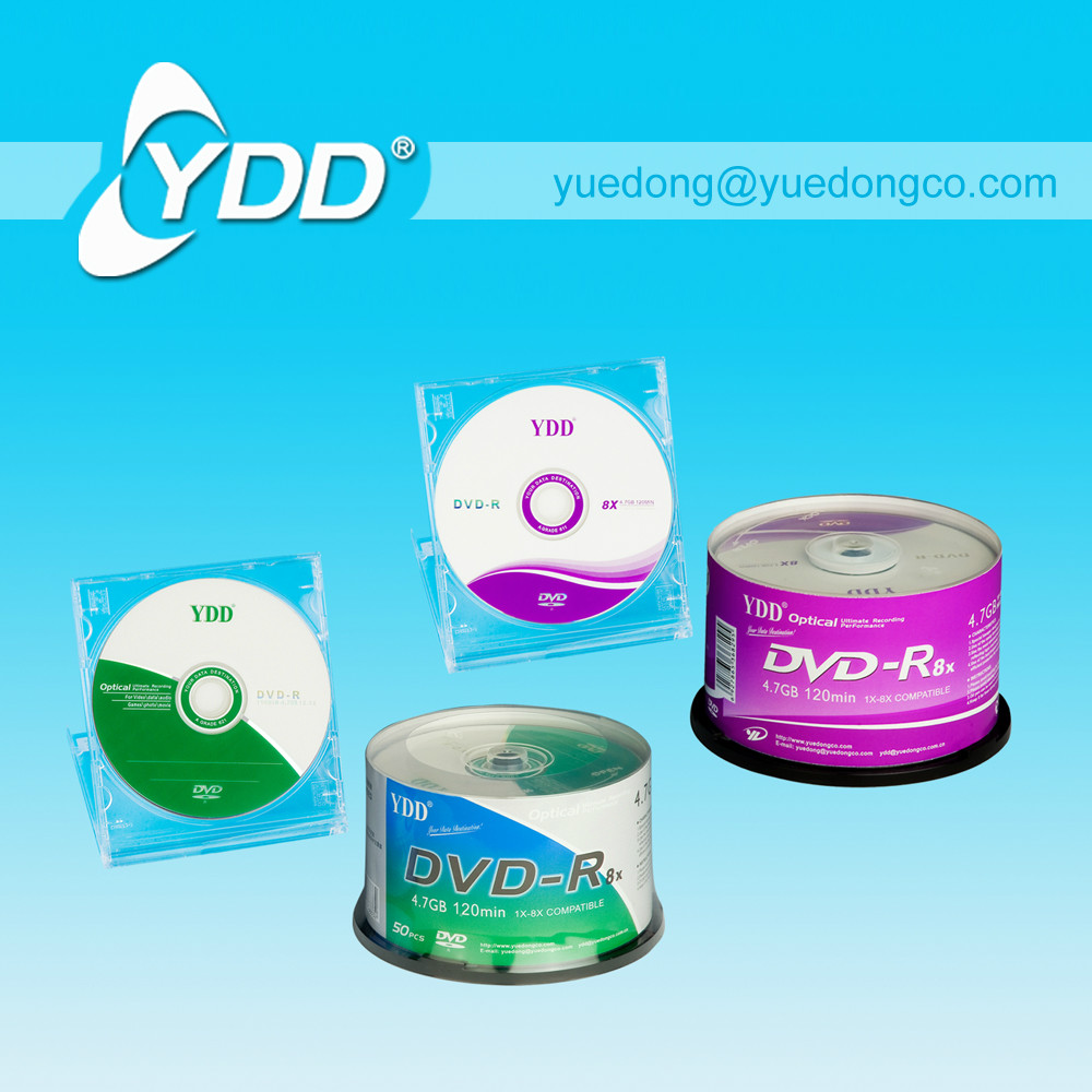 PRINTED DVD-R/BLANK DVD IN 50PCS CAKE BOX PACK WITH COLOUR PAPER LABEL.(YD-003-F)..YDD