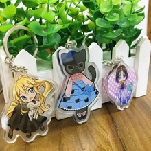 custom transparent laser cut acrylic vograce printed charms cartoon anime keychain