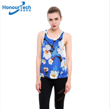 2018 Women Large Size Breathable Cool Blue Flower Printing Design 3XL Yoga Tank Tops