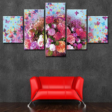5 Pieces Canvas Prints of beautiful flower Painting Wall Art Anime Home Decor Panels Poster Modular Pictures For Living Room