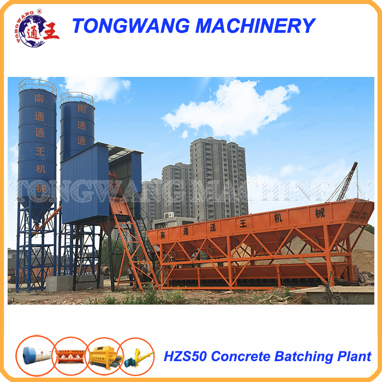 building used HZS50 fixed concrete batching plant price in india