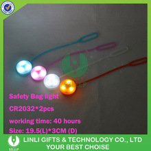 Custom Logo Print Silicone Led Bag Light Blinking Flashing Bag Light For Promotion