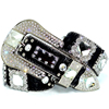 Western Men Clear Prism Concho Black Leather Cheap Rhinestone Belts