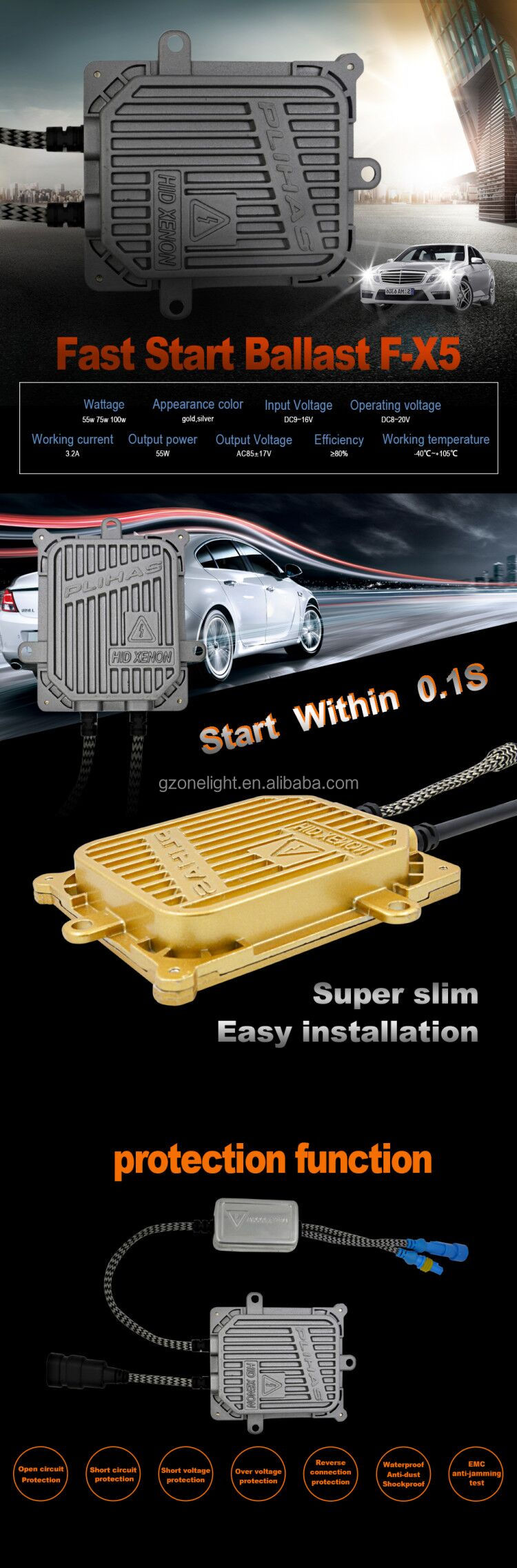 Super bright HID Ballast F-X5 gold/ silver color fast star 33w/55w hid ballast car hid xenon light ballast