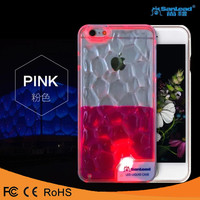 Fashion Luxury High Quality LED Water Cube Liquid Flow Plastic PC hard Phone Cover Case for Iphone 5 6 6plus