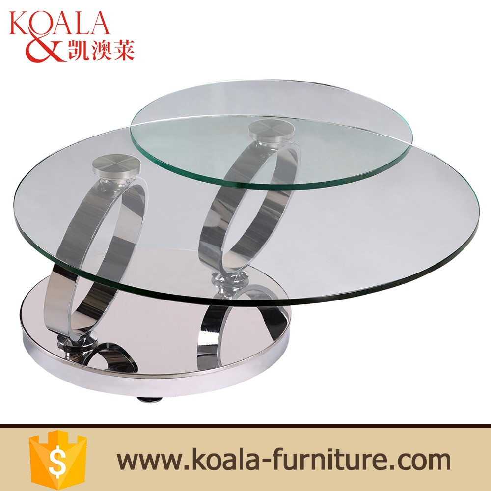 Reception Room Furniture Modern Design Dolphins Glass Coffee Table