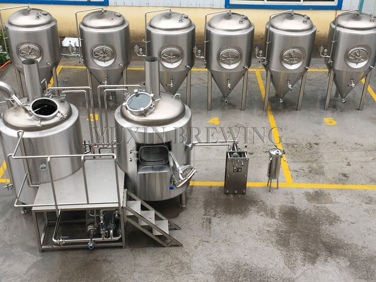 brewery with fermenters and brewhouse