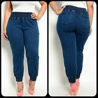 Wholesale Fat Ladies Fancy Plain Jeans With Elastic From China Factory