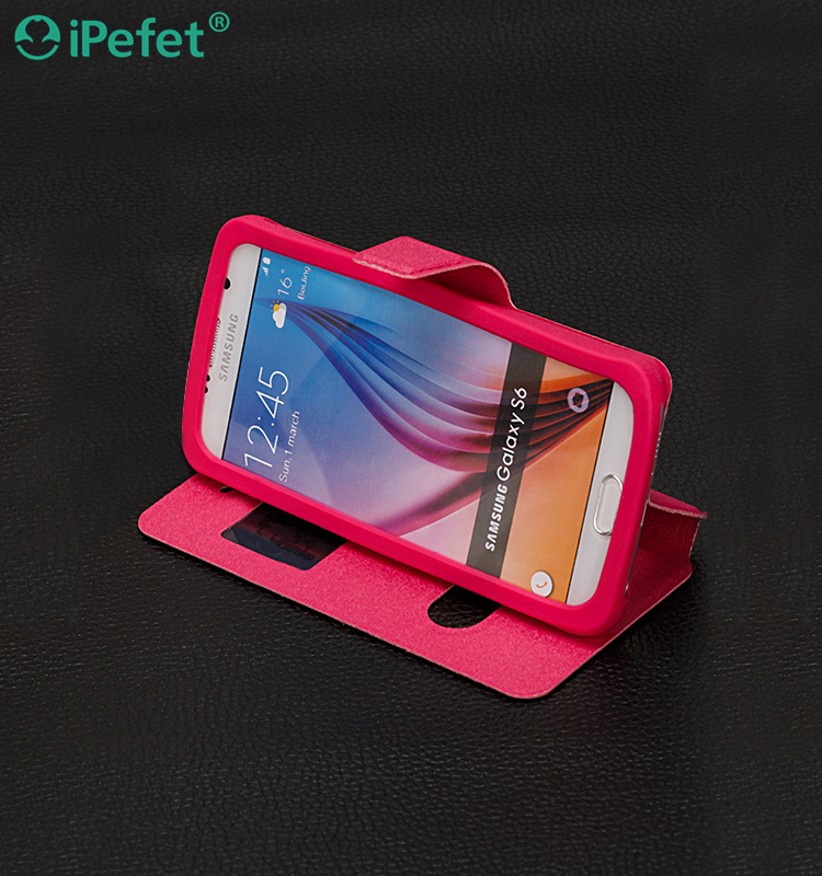 Silicone Kickstand Holder window view Stand Slim Flip Leather case for Samsung A5