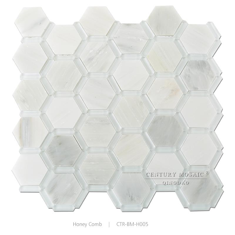 Super White Gl Mix Marble Hexagon Pool Mosaic Tile 1cm Thick