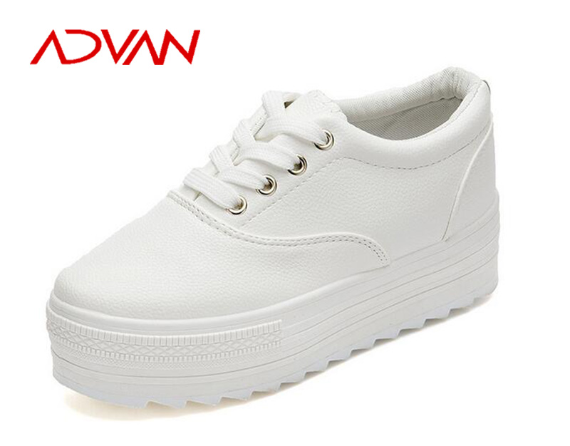 2015 Wholesale Woman Platform PU Shoes White High Heel Woman Sneakers with Thick Sole