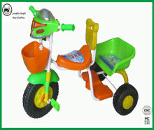 The baby twins tricycle with plastic basket and good safe protection