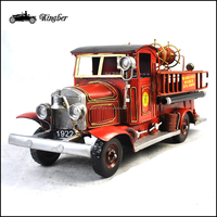 Handmade Iron Crafts 1928 MIKE Fire Truck Model for Birthday Gift or Home Furnishing Decoration