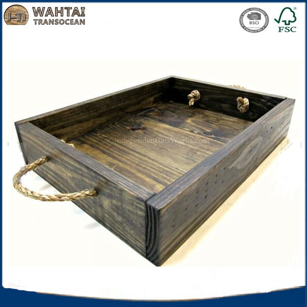 Dark Stained Rustic <strong>wooden</strong> serving tray with handles