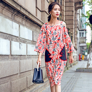 Women Summer Fashion Korean Style Long Sleeve Maxi Dress Ladies Chiffon Casual Dress