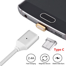 Type-C Magnetic Fast charger Phone Cable, 2A Nylon Braided Metal Charging Data Sync Cord USB-C Connector Adapter