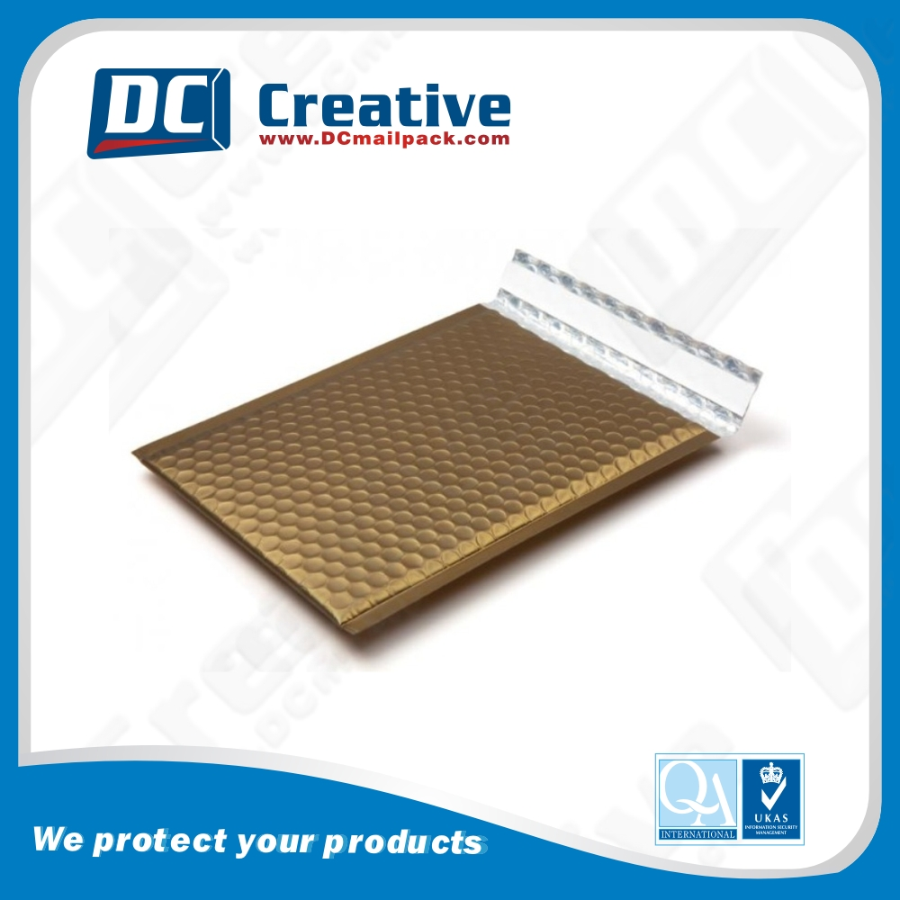 Matte Gold Aluminum Foil Bubble Shipping Wrap Mailer Cutomized Padded Envelope