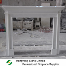 Multi-layered shelf marble fireplace surround