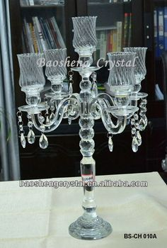 Hot sale! 5 heads Glass Crystal Votive Candle Holder & Candelabra for Tealights and Taper Candles (BS-CH010A)