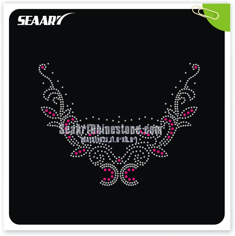 DMC crystal hot fix stone beautiful western neck patterns for dresses