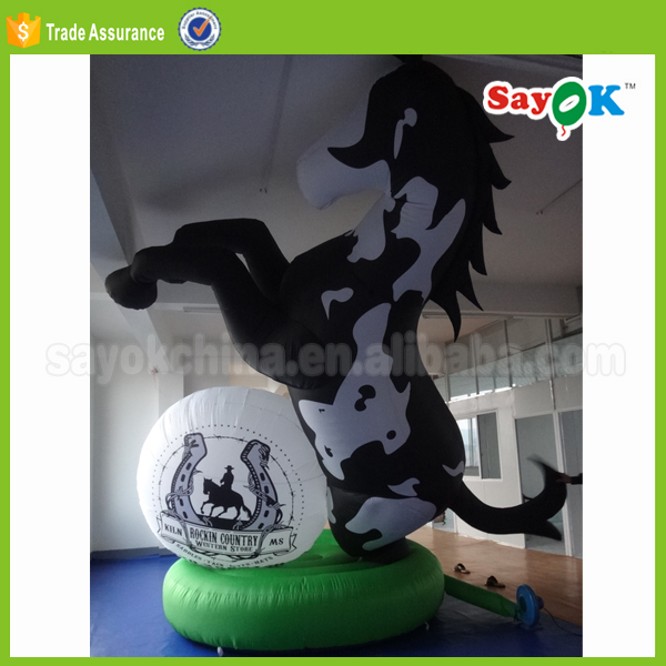 black horse racing giant inflatable advertising horse costumes with logo