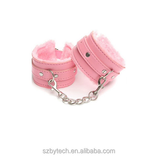 Pink leather bondage fetish hand cuffs wrist cuff BDSM handcuff sex toys for couple