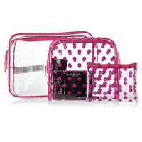 Very Cheap 3-Pieces Clear Plastic Cosmetic Bag Set