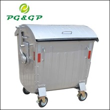 1100L Pedal System Available Hot Dip GalvanizedGarbage Bins,Metal Waste Container