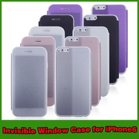 Invisible window wallet leather flip case cover for iphone 6