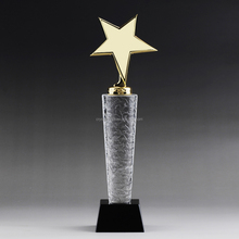 Fashion glass star trophy with custom sizes metal golden star