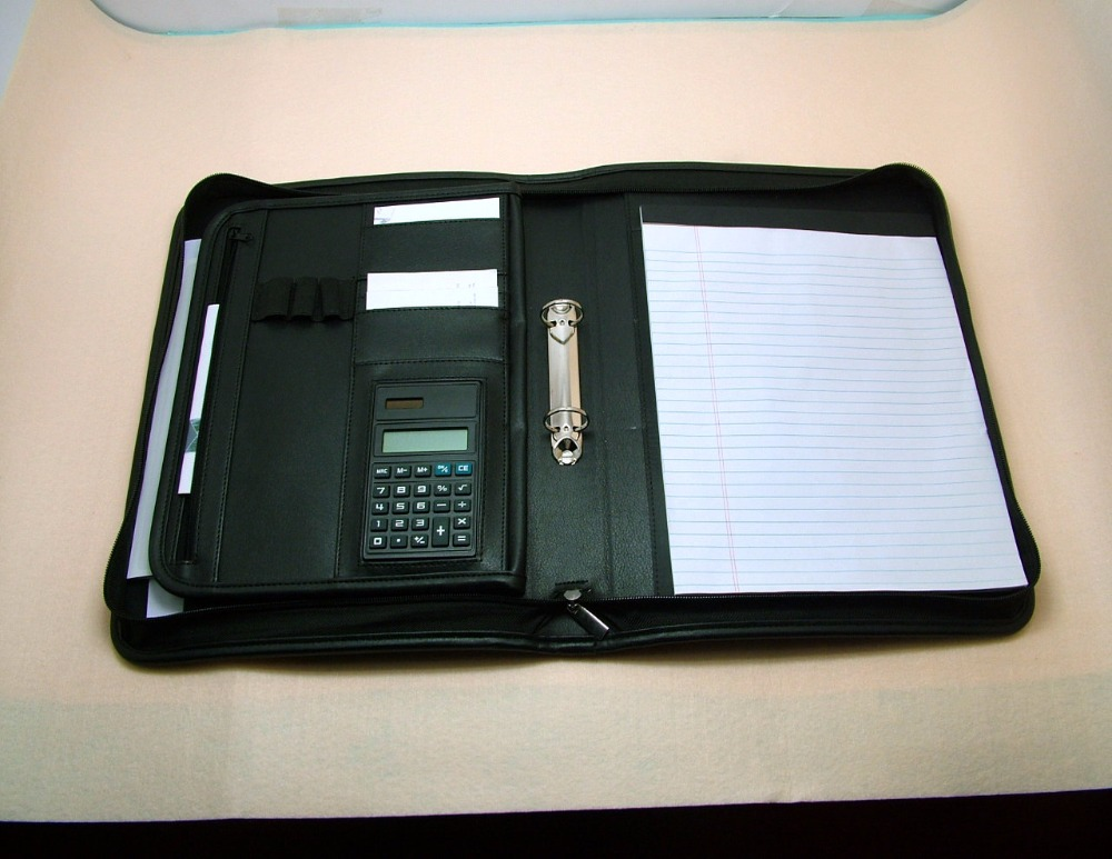 Zippered leather binder portfolio folder for 2 ring binders