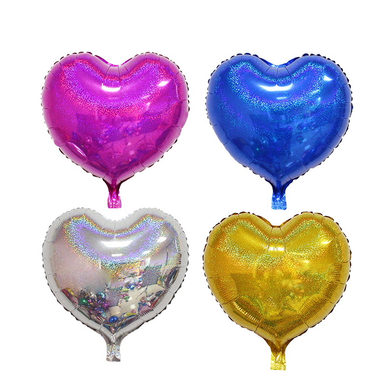 18inch Party Foil Helium Balloon/ metallic laser heart shape foil baloon/Adult Party Balloon