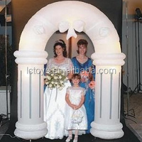 custom beautiful white inflatable wedding arch with led light ideal decoration for wedding made of oxford cloth