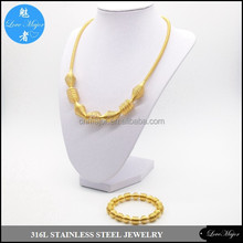 gold plated spring design stainless steel jewelry sets with necklace and bracelet