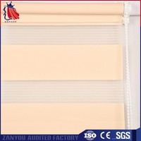 100% polyester material pull up manual zebra roller blind curtain