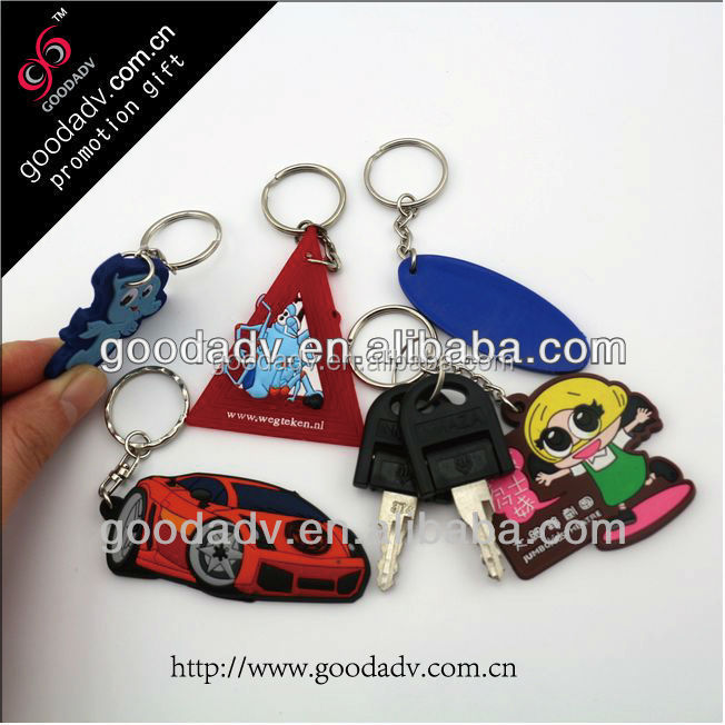 Guangzhou Supply 3D soft pvc key chain low price wholesale keyring