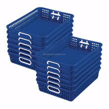 Hight Quality Royal Blue Classroom Paper Baskets with Handles Creative Plastic Stackable A4 Storage Basket Tidy Organizers