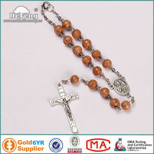 8mm rose carved wood beads car decoration,car rosary