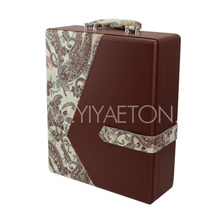 Customized Vintage Pattern Leather Wine Carrier