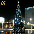 Outdoor lighted classic Christmas trees