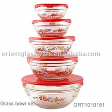 2016 hot sale sunflower printing salad 5pc mixing glass bowl set