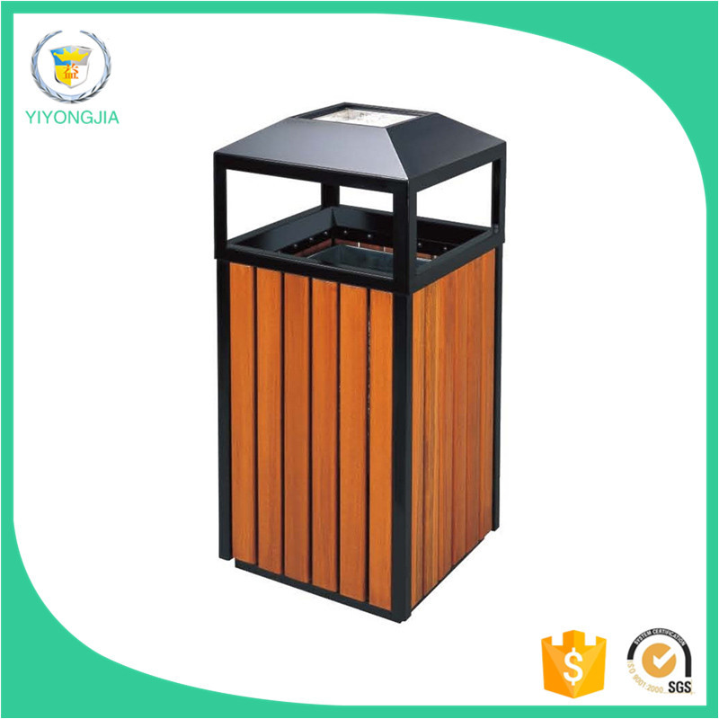 square wooden street park garden waste bin with round steel ashtray on top