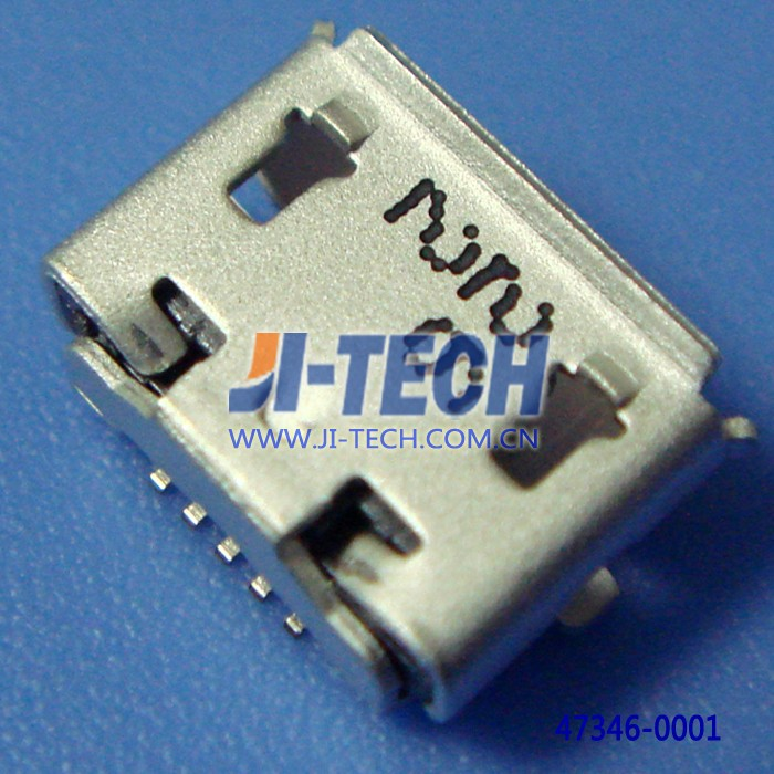 molex 0.65mm pitch micro USB B receptacle with flange molex I/O connector 47346-0001buttom mount surface mount wire to board
